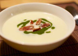 A bowl of Jerusalem artichoke soup: seasonal recipe January UK